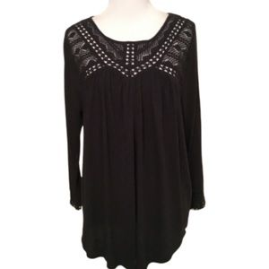 Lucky Brand Black Long Sleeve Casual Top Large